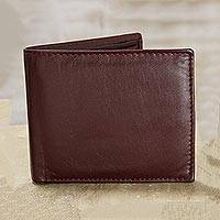 Leather wallet, 'Bold Burgundy' - Handmade Leather Wallet in Solid Burgundy from India