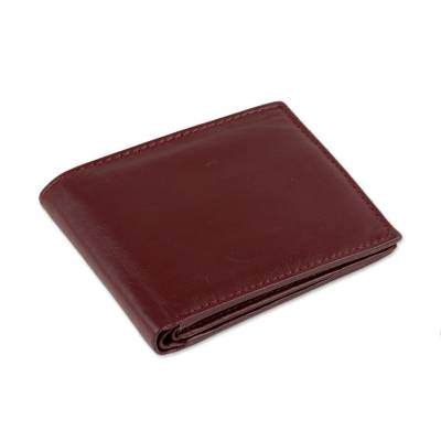 Handmade Leather Wallet in Solid Burgundy from India