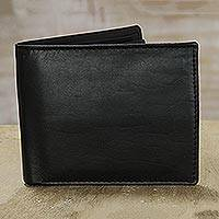 Leather wallet, 'Distinguished Elegance' - Black Bi-Fold Smooth Genuine Leather Wallet from India