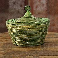 Recycled paper decorative basket, 'Eco Green' - Green Recycled Paper Decorative Basket from India