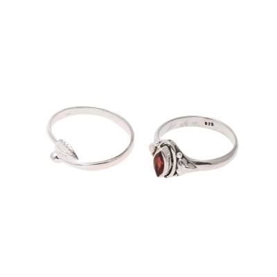 Garnet and Sterling Silver Rings from India (Pair)