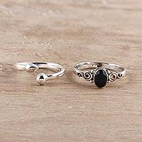 Onyx and sterling silver rings, 'Delightful Night' (pair) - Onyx and Sterling Silver Rings from India (Pair)