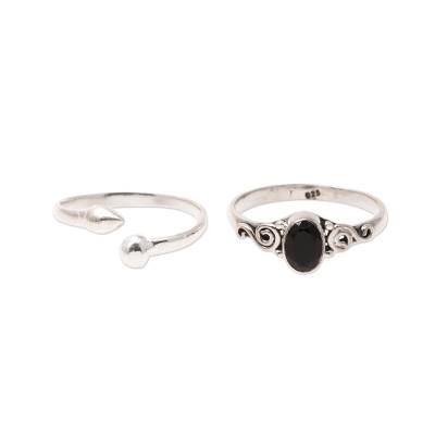 Onyx and Sterling Silver Rings from India (Pair)