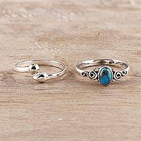 Sterling silver and composite turquoise rings, 'Delightful Ocean' (pair)