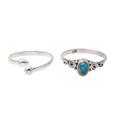 Sterling silver and composite turquoise rings, 'Delightful Ocean' (pair) - Sterling Silver and Composite Turquoise Rings (Pair)