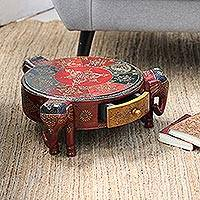 Mango wood stool, 'Elephant Trio' - Elephant Trio Mango Wood Stool from India