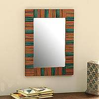 Mango wood wall mirror, 'Colorful Stripes' - Colorful Striped Mango Wood Wall Mirror from India