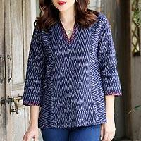 Tie-dyed cotton tunic, 'Ikat Lightning' - Ikat Tie-Dyed Zigzag Motif Cotton Tunic in Indigo from India