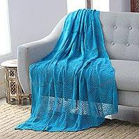 Cotton throw, 'Comfort Muse in Turquoise' - Crocheted Turquoise Cotton Throw Blanket from India