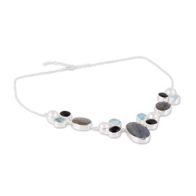 Multi-gemstone pendant necklace, 'Entrancing Night' - Entrancing Multi-Gemstone Pendant Necklace from India