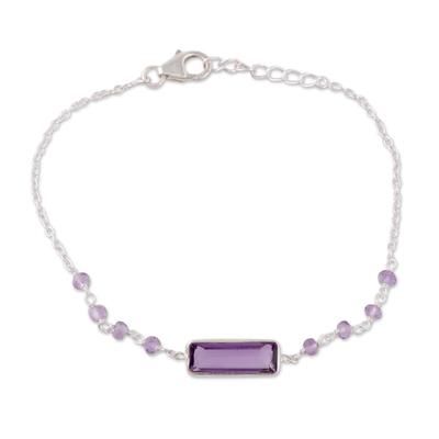Amethyst pendant bracelet, 'Magical Prism' - 3.5-Carat Amethyst Pendant Bracelet from India