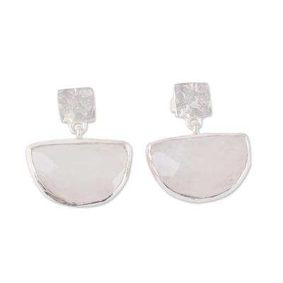 Rainbow moonstone dangle earrings, 'Rainbow Goddess' - 21-Carat Rainbow Moonstone Dangle Earrings from India