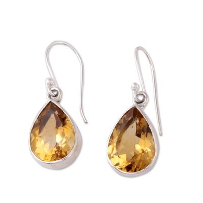 9-Carat Teardrop Citrine Dangle Earrings from India