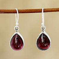 Garnet dangle earrings, 'Red Glimmer' - Natural Teardrop Garnet Dangle Earrings from India