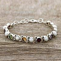 Multi-gemstone tennis bracelet, 'Pure Chic' - Cultured Pearl and Multi-Gem Tennis Bracelet from India