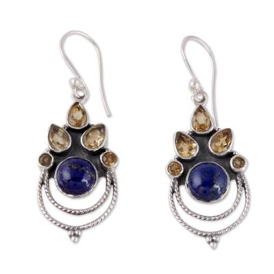 Citrine and Lapis Lazuli Dangle Earrings by Indian Artisans