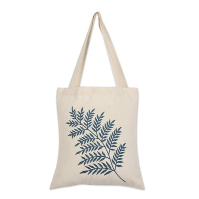 Azure Fern Pattern Embroidered Cotton Shoulder Bag