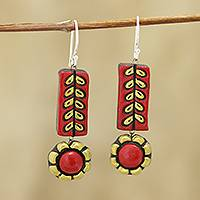 Ceramic dangle earrings, 'Creative Flowers' - Red and Golden Floral Ceramic Dangle Earrings from India