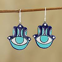 Ceramic dangle earrings, 'Watchful Hamsa' - Hamsa Eye Ceramic Dangle Earrings from India