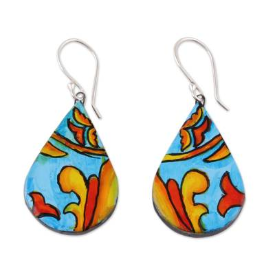 Hand-Painted Teardrop Ceramic Dangle Earrings from India