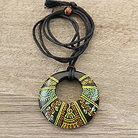 Ceramic pendant necklace, 'Madhubani Glory' - Madhubani-Style Ceramic Pendant Necklace from India