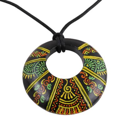 Madhubani-Style Ceramic Pendant Necklace from India