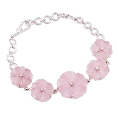 Pink Quartz Floral Link Bracelet from India
