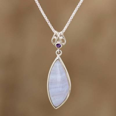 Agate and amethyst pendant necklace, 'Lacy Blue' - Agate and Amethyst Pendant Necklace from India