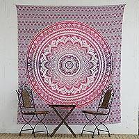 Cotton wall hanging, 'Vedic Flower' - Pink and Purple Floral Mandala Cotton Wall Hanging