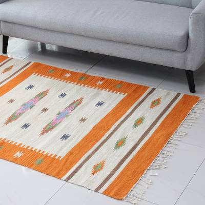 Wool area rug, 'Tangerine Fusion' (4x6) - Tangerine and Ivory Wool Area Rug from India (4x6)