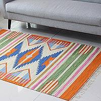 Wool area rug, 'Hourglass Geometry' (4x6) - Hourglass Pattern Wool Area Rug from India (4x6)