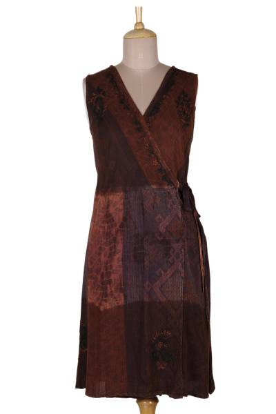 Russet and Graphite A-Line Wrap Dress