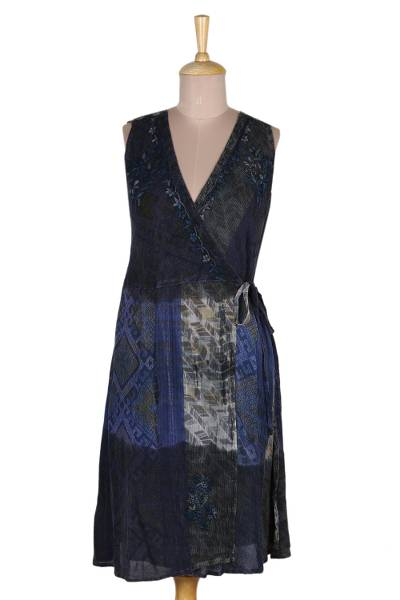 Crinkle Rayon Blue and Taupe Wrap Dress