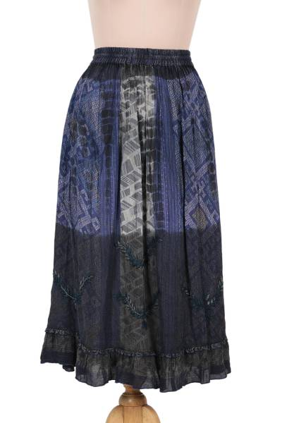 Embroidered Rayon Print Peasant Skirt in Blue and Grey