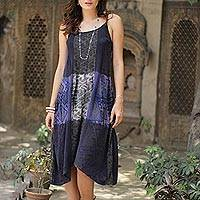 Rayon sundress, 'Blue Fusion' - Blue and Taupe Women's Rayon Sundress