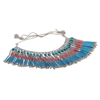 Glass Bead and Recycled Paper Waterfall Necklace in Blue
