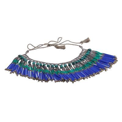 Glass Bead and Recycled Paper Waterfall Necklace in Cobalt