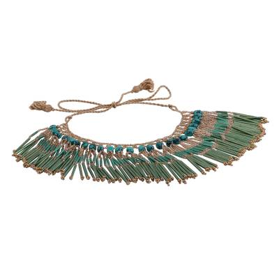 Glass Bead and Recycled Paper Waterfall Necklace in Green