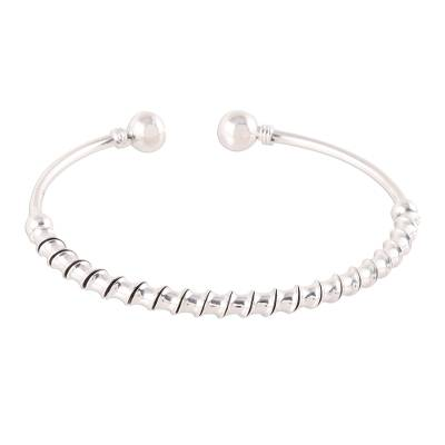 Spiral Pattern Sterling Silver Cuff Bracelet from India