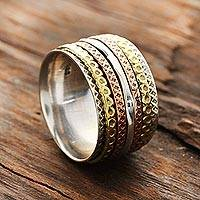 Sterling silver spinner ring, 'Mesmerizing Quintet' - Sterling Silver Spinner Ring with Brass and Copper