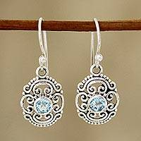 Blue topaz dangle earrings, 'Brilliant Swirls' - Swirl Pattern Blue Topaz Dangle Earrings from India