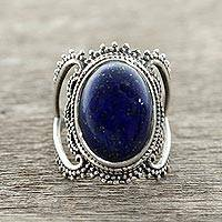 Lapis lazuli single-stone ring, 'Deep Blue Magnificence' - Lapis Lazuli Single-Stone Ring from India