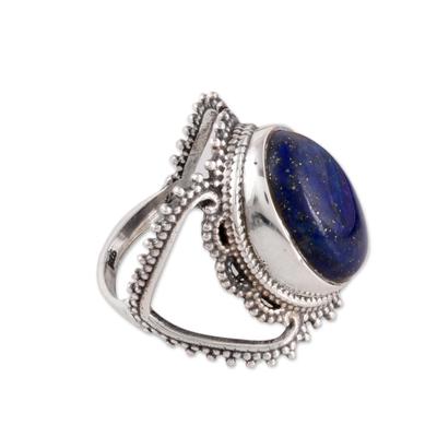 Lapis lazuli single-stone ring, 'Deep Blue Magnificence' - Lapis Lazuli Single-Stone Ring from India
