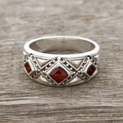 Garnet band ring, 'Radiant Squares' - Garnet Band Ring Crafted in India