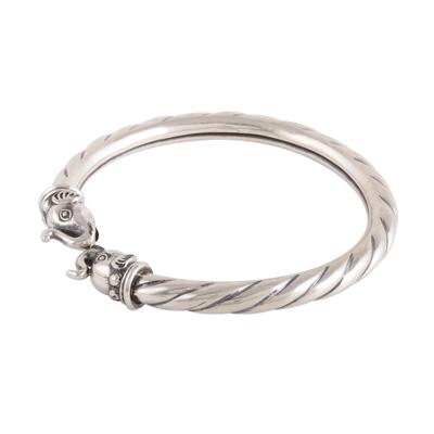 Twist Pattern Sterling Silver Elephant Cuff Bracelet