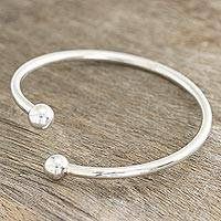 Sterling silver cuff bracelet, 'Elegant Charm' - Simple Sterling Silver Cuff Bracelet from India
