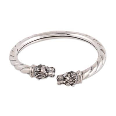 Rope Pattern Sterling Silver Tiger Cuff Bracelet from India