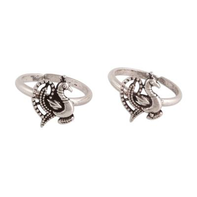 Sterling Silver Peacock Toe Rings from India