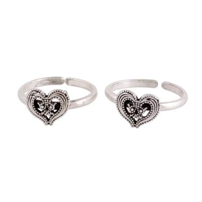 Heart Motif Sterling Silver Toe Rings from India