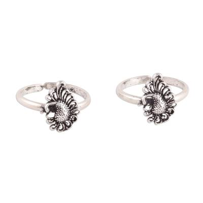 Peacock Paisley Sterling Silver Toe Rings from India